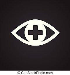 Ophtalmology eye icon on black background icon