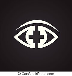 Ophtalmology eye on black background for app or web using - ...