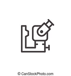 Ophthalmologic equipment line icon isolated on white. Vector...