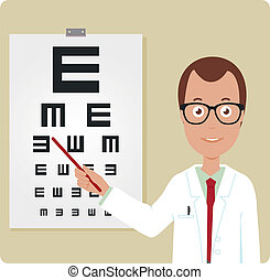 Ophthalmologist and eye chart. Vector illustration - An ...