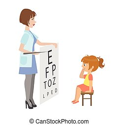 Ophthalmologist Checking Little Girl Eyesight, Part Of Kids Taking Health Exam Series Of Illustrations. Child On Appointment With A Doctor Going Through Medical Checkup.