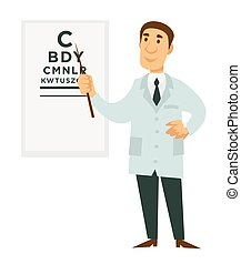 Ophthalmologist doctor and signboard with letters isolated...