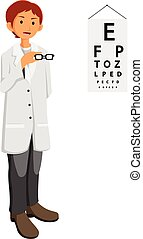 ophthalmologist doctor giving glasses - illustration of...