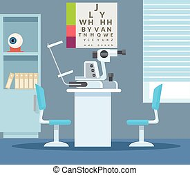 Ophthalmologist office. Vector flat illustration