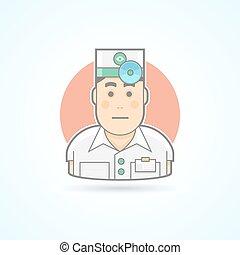 Ophthalmologist, otorhinolaryngologist, physician with head...