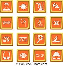 Ophthalmologist tools icons set orange