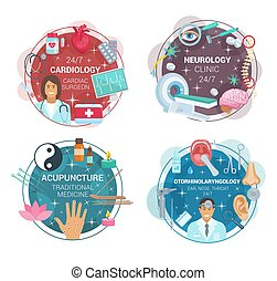 Ophthalmology and acupuncture medical clinic icons -...