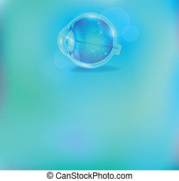 Ophthalmology background, anatomy of the eye and beautiful blue color