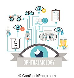 Ophthalmology concept flat - Ophthalmology flat concept with...