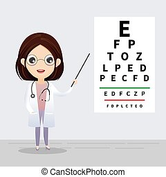 Ophthalmology concept. Oculist pointing at eye test chart....