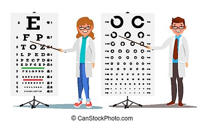Ophthalmology Doctor Set Vector. Female, Male. Medical Eye Diagnostic. Eye Test Chart In Clinic. Diagnostic Of Myopia. Medicine Concept. Isolated Flat Cartoon Illustration