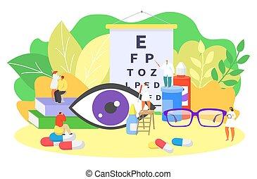 Ophthalmology eye care, oculists work vector illustration. ...