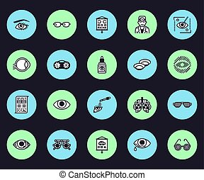 Ophthalmology, eyes health care vector line icons. Optometrist equipment, contact lenses, glasses, blindness, laser surgery. Vision correction thin linear signs for oculist clinic