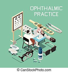 Ophthalmology Isometric Composition