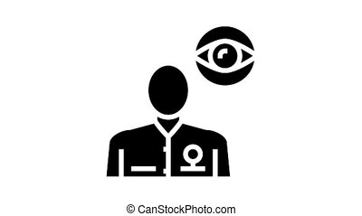 ophthalmology medical specialist animated glyph icon. ophthalmology medical specialist sign. isolated on white background