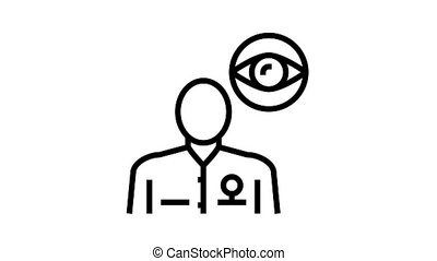ophthalmology medical specialist animated black icon. ophthalmology medical specialist sign. isolated on white background