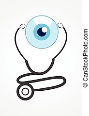 Pictogram of a stethoscope and eye ball. For medical, healthcare, ophthalmologist, ophthalmology theme
