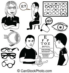 ophthalmology set - ophthalmology vector set illustrations