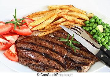 opieczony, obiad, stek