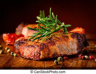 opieczony, stek, closeup, szczegół