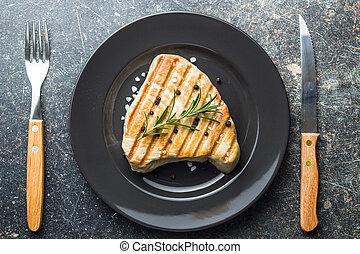 opieczony, tuńczyk, steak.