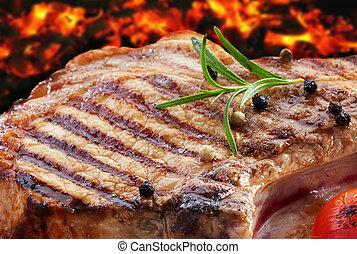 opieczony, wieprzowina, mięso