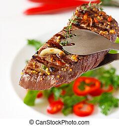 opieczony, wołowina, steak.
