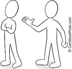 opinião, diferente, duas pessoas
