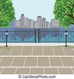 opinión de la ciudad, en, parque público