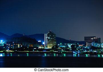 opinión de la ciudad, noche, scape