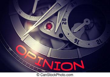 opinión, en, elegante, relojde bolsillo, mechanism., 3d.