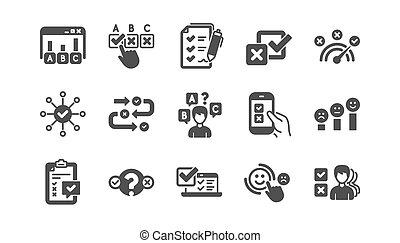 opinión, vector, o, clásico, reacción, encuesta, set., informe, icono, satisfacción, results., cliente, icons.