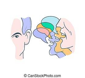 opiniones, diferente, concepto, escuchar