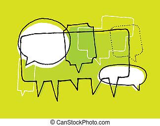 opiniones, discusión, y, idea genial