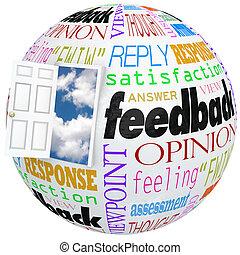 opiniones, puerta, reacción, ratings, globo, comments, revisiones, abierto