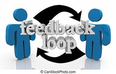opinions, partage, réaction, gens, illustration, conversation, boucle, 3d