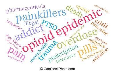 opioid, 単語, 伝染病, 雲