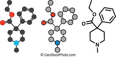 opioid, analgésique, molecule., pethidine, drogue
