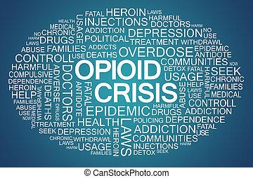 opioid, crisis, palabra, nube