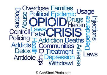 opioid, szó, krízis, felhő