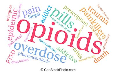 Opioids word cloud on a white background.