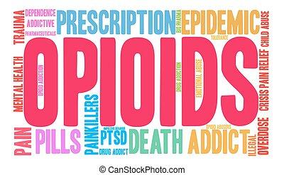Opioids Word Cloud - Opioids word cloud on a white...