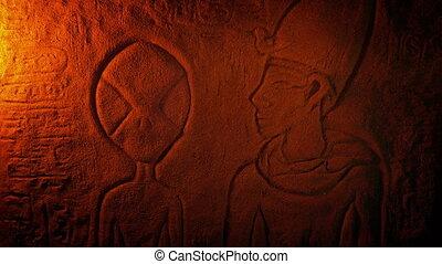 opis, egipt, starożytny, cudzoziemiec, rzeźba
