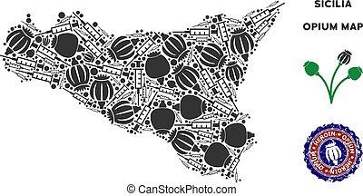 Opium Drugs Sicilia Map Collage - Opium addiction Sicilia...