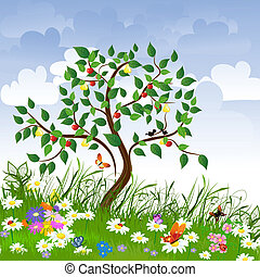 opklarende, frugt, blomst, træer