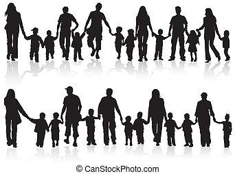 opkræve, silhuetter, familie