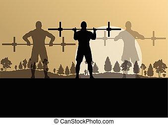 oplæring, begreb, crossfit, vektor, vægte, baggrund