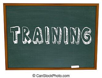 oplæring, glose, på, chalkboard, -, få, trained, ind, nye,...