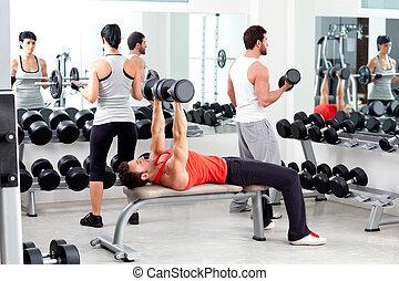 oplæring, gruppe, vægt, folk, gymnastiksal, duelighed, sport