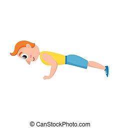 oplæring, gymnastiksal, unge, ups., udøvelser, gåpåmodet, sport, mand